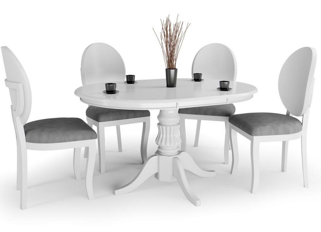 Stół okrągły rozkładany biały na jednej nodze WILLIAM